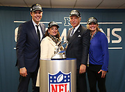 Jan 20, 2019; New Orleans, LA, USA; The Kroenke family poses with the NFC Championship trophy after the Los Angeles Rams defeated the New Orleans Saints for the NFC Championship at Mercedes-Benz Superdome.  From left to right are as follows: Josh Groenke, Ann Walton Kroenke, Stan Kroenke and Whitney Ann Kroenke.  The Rams beat the Saints in overtime 26-23 and head to Super Bowl 53 in Atlanta. (Steve Jacobson/Image of Sport)