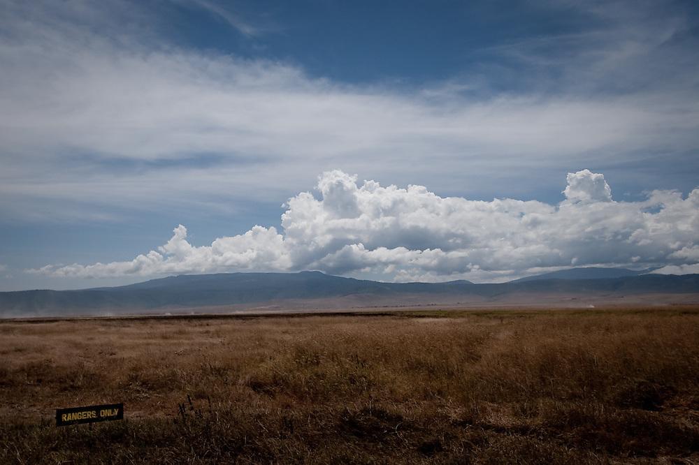 A warning sign in Ngorongoro Crater, Tanzania.