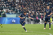Manchester United Midfielder Juan Mata shoots and scores  a goal 1-1 during the Champions League Group H match between Juventus FC and Manchester United at the Allianz Stadium, Turin, Italy on 7 November 2018.
