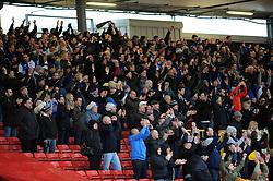 Bristol Rovers fans celebrate the win - Photo mandatory by-line: Neil Brookman/JMP - Mobile: 07966 386802 - 28/02/2015 - SPORT - Football - Gateshead - Gateshead International Stadium - Gateshead v Bristol Rovers - Vanarama Football Conference