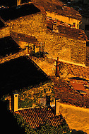 Rooftop view of rural village homes, Siagnon de Provence, France