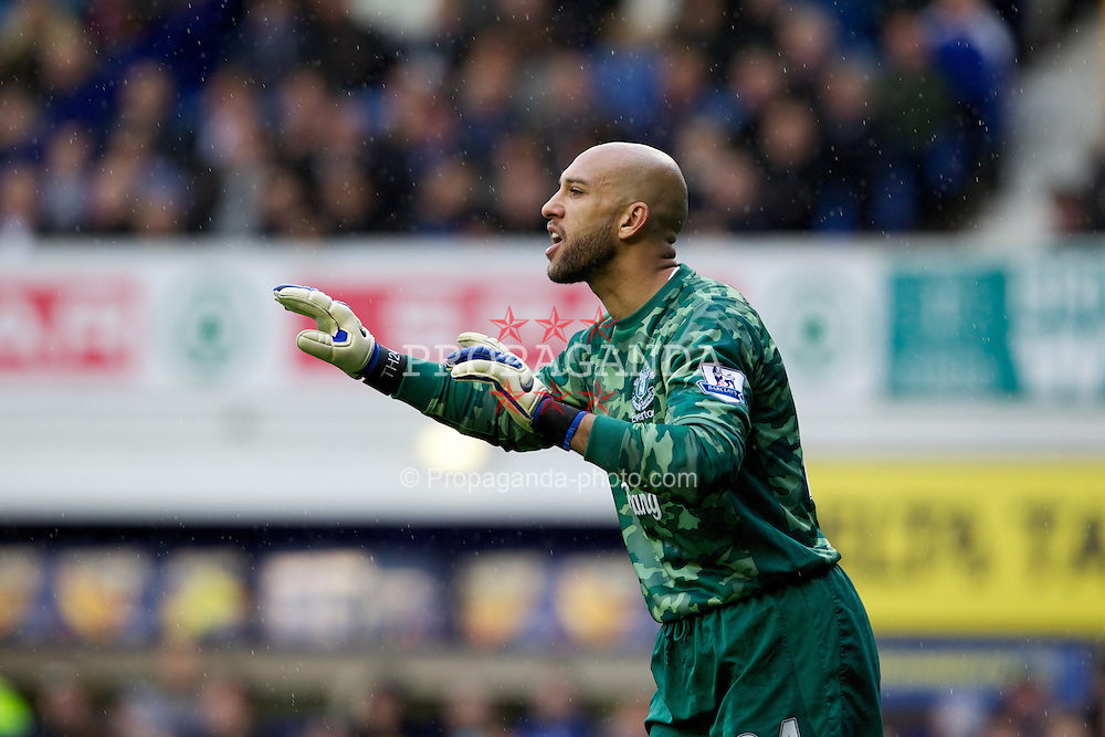 LIVERPOOL, ENGLAND - Easter Monday, April 9, 2012: Everton's goalkeeper Tim Howard in action against Sunderland during the Premiership match at Goodison Park. (Pic by Vegard Grott/Propaganda)