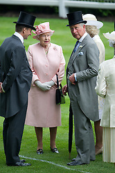 © London News Pictures. 18/06/2013. Ascot, UK.   HRH Queen Elizabeth II talking to Prince Charles and Camilla after arriving for day one of Royal Ascot at Ascot racecourse in Berkshire, on June 18, 2013.  The 5 day showcase event,  which is one of the highlights of the racing calendar, has been held at the famous Berkshire course since 1711 and tradition is a hallmark of the meeting. Top hats and tails remain compulsory in parts of the course. Photo credit should read: Ben Cawthra/LNP