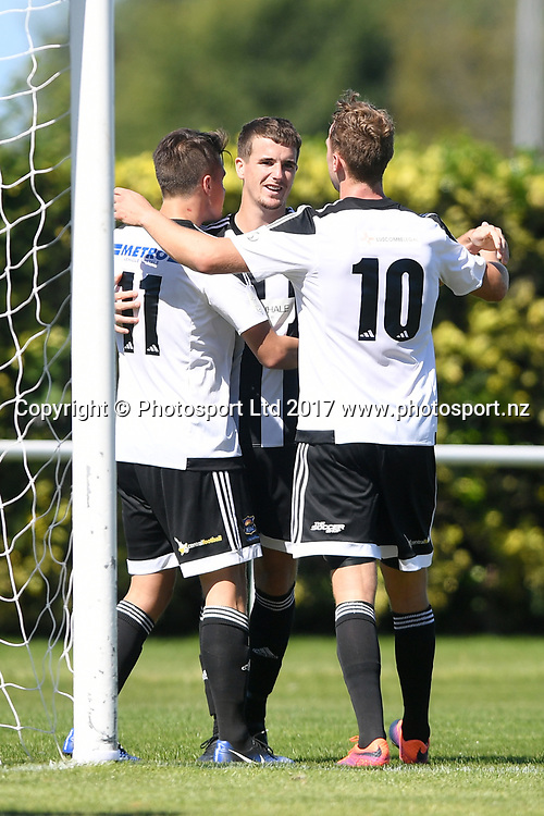 Hawkes Bay United celebrate a goal in the Stirling Sports Premiership match, Hawke's Bay United v Hamilton Wanderes, Park Island, Napier, Sunday, March 19, 2017. Copyright photo: Kerry Marshall / www.photosport.nz
