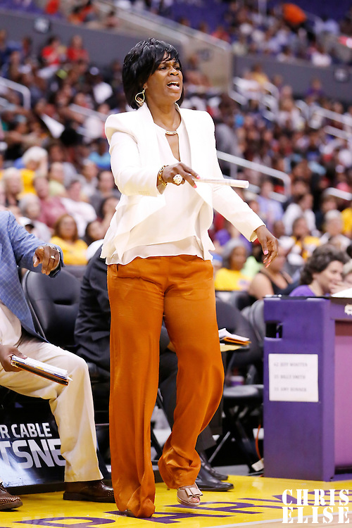 08 August 2014: Los Angeles Sparks head coach Penny Toler is seen during the Los Angeles Sparks 80-77 overtime win over the Atlanta Dream, at the Staples Center, Los Angeles, California, USA.