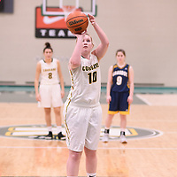 3rd year forward Alexi Rowden (10) of the Regina Cougars in action during the Women's Basketball home game on January  19 at Centre for Kinesiology, Health and Sport. Credit: Arthur Ward/Arthur Images