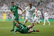 MADRID, SPAIN. January 24, 2018 - Marcos Llorente and Tito struggling for the ball. Real Madrid pushed right to the end but were ultimately unable to get the better of Leganés, who scored twice, once in either half, to knock the Whites out of the Copa del Rey. . Photos by Antonio Pozo | PHOTO MEDIA EXPRESS