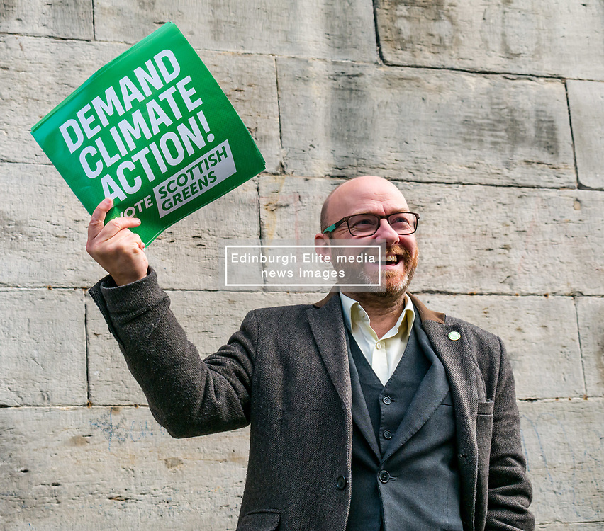 Hunter Square, Edinburgh, Scotland, United Kingdom, 28 November 2019. General Election: The Scottish Greens demand action about climate change as part of their general election campaign. Pictured: Patrick Harvie, MSP & Scottish Green Party Co-Leader.<br /> Sally Anderson   EdinburghElitemedia.co.uk