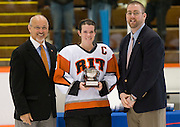 2012/03/04 - RIT's Kim Schlattman poses with the ECAC West tournament MVP trophy after the ECAC West Championship game between RIT and SUNY Plattsburgh at RIT's Ritter Arena on March 4th, 2012. RIT won 2-1 to earn an automatic berth in the NCAA tournament.