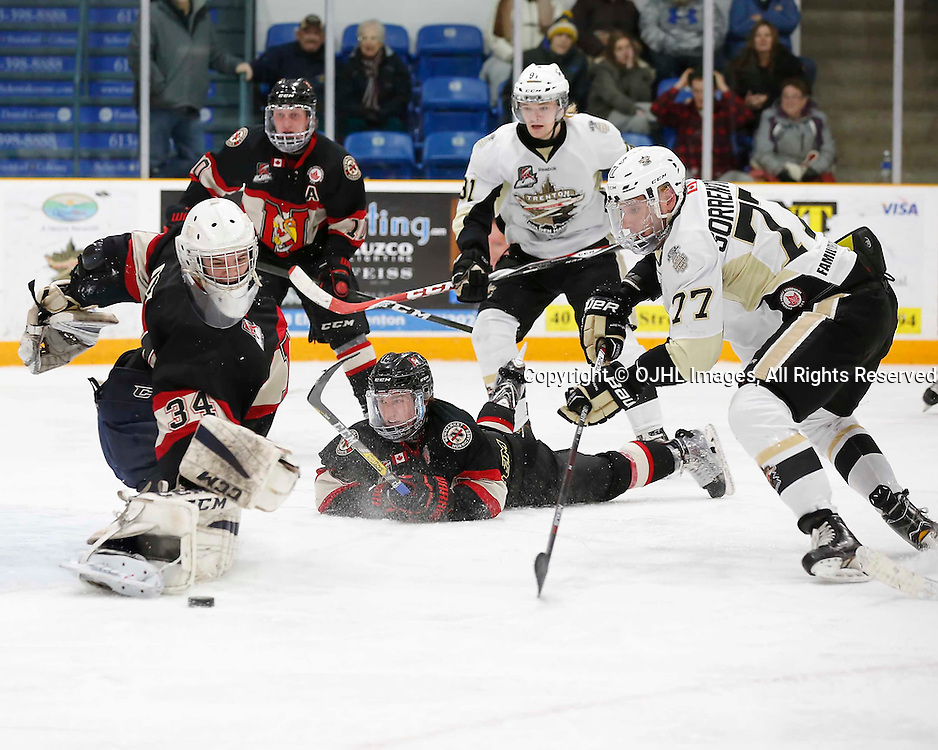 TRENTON, ON - MAR 3,  2017: Ontario Junior Hockey League, playoff game between the Trenton Golden Hawks and the Newmarket Hurricanes., Kirk Fraser #34 of the Newmarket Hurricanes makes the save during the third period<br /> (Photo by Amy Deroche / OJHL Images)
