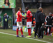 Charlton Athletic striker, Yaya Sanogo (25) coming on for Charlton Athletic midfielder, Jordan Cousins (8) during the Sky Bet Championship match between Charlton Athletic and Cardiff City at The Valley, London, England on 13 February 2016. Photo by Matthew Redman.