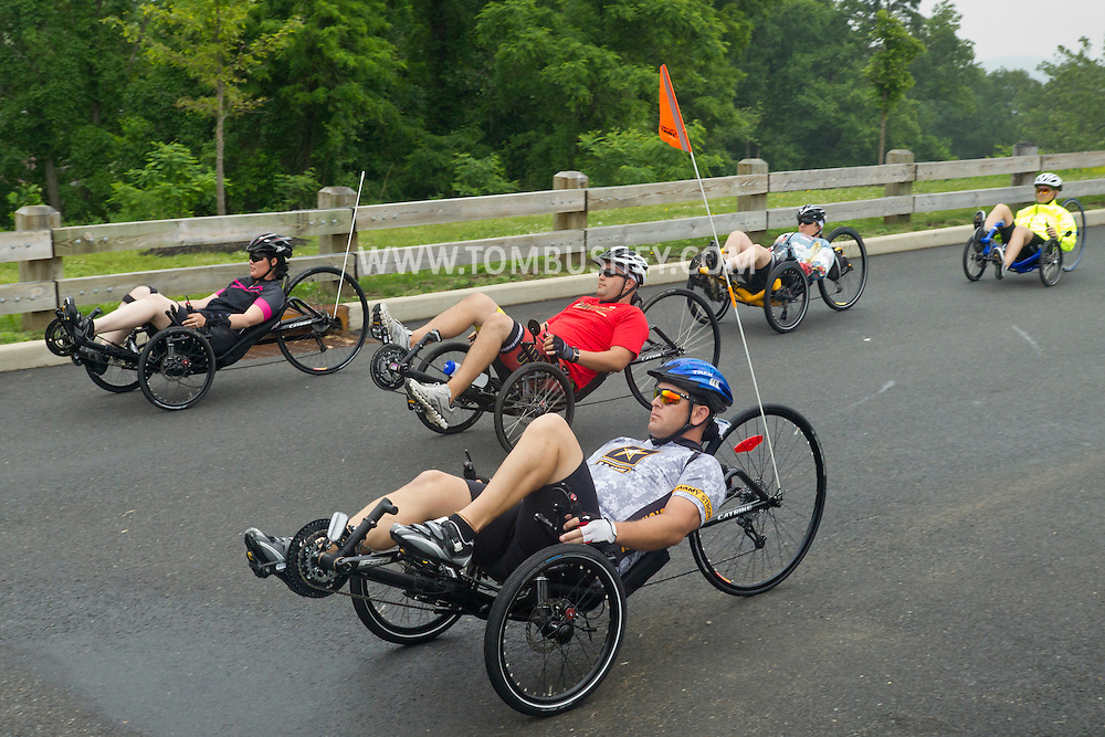 West Point, New York - Athletes  preparing for the 2014 Army Warrior Trials start a training ride at the United States Military Academy Preparatory School on Monday, June 9, 2014.<br />