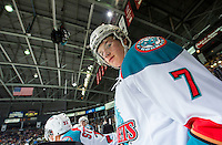 KELOWNA, CANADA - MARCH 7: Lucas Johansen #7 of Kelowna Rockets stands on the bench against the Spokane Chiefs on March 7, 2015 at Prospera Place in Kelowna, British Columbia, Canada.  (Photo by Marissa Baecker/Shoot the Breeze)  *** Local Caption *** Lucas Johansen;