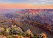 The pastel light of a Summer sunrise illuminates the Grand Canyon.