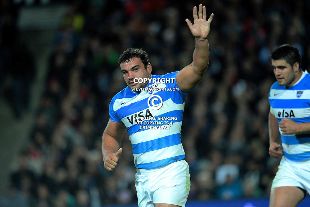 Agustin Creevy waves to fans as he is substituted during The Rugby Championship match between the NZ All Blacks and Argentina Pumas at FMG Stadium in Hamilton, New Zealand on Saturday, 10 September 2016. Photo: Dave Lintott / lintottphoto.co.nz