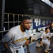 NEW YORK, NEW YORK - June 14:  Gregory Polanco #25 of the Pittsburgh Pirates watches play as he prepares to bat in the dugout during the Pittsburgh Pirates Vs New York Mets regular season MLB game at Citi Field on June 14, 2016 in New York City. (Photo by Tim Clayton/Corbis via Getty Images)