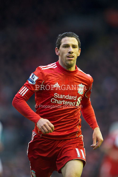 LIVERPOOL, ENGLAND - Saturday, December 10, 2011: Liverpool's Maximiliano Ruben Maxi Rodriguez in action against Queens Park Rangers during the Premiership match at Anfield. (Pic by David Rawcliffe/Propaganda)