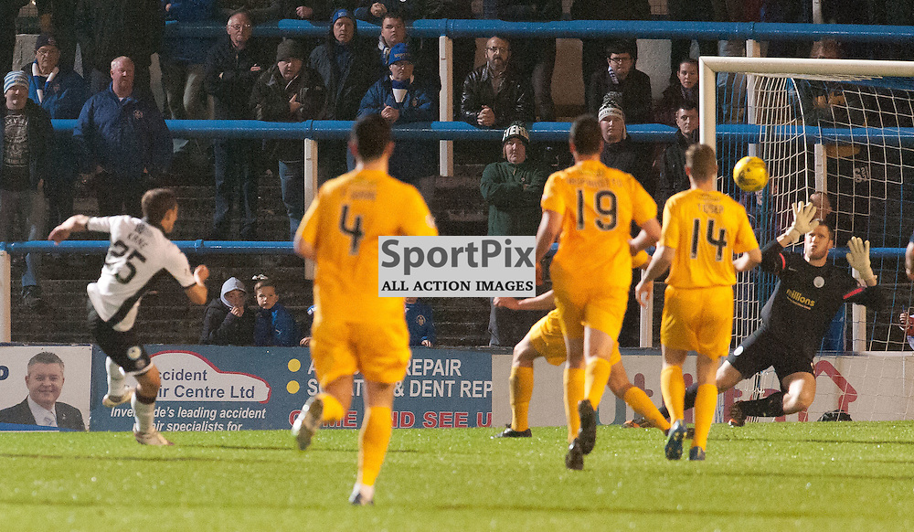 #25 Chris Kane (St Johnstone) makes the tie safe at 1-3.<br /> <br /> Greenock Morton v St Johnstone, Scottish League Cup, 27 October 2015. &copy; Russel Hutcheson | SportPix.org.uk