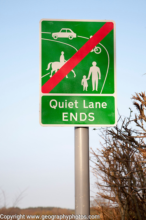 Sign showing the end of a Quiet Lane, Suffolk, England