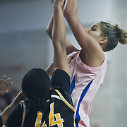 02/05/12 Newark DE: Delaware Junior Forward #11 Elena Delle Donne attempts to shoot the ball over Senior Forward Courtney Hurt #44 during a Colonial Athletic Association game against the VCU Lady Rams, Feb. 5, 2012 at the Bob carpenter center in Newark Delaware...Special to The News Journal/SAQUAN STIMPSON