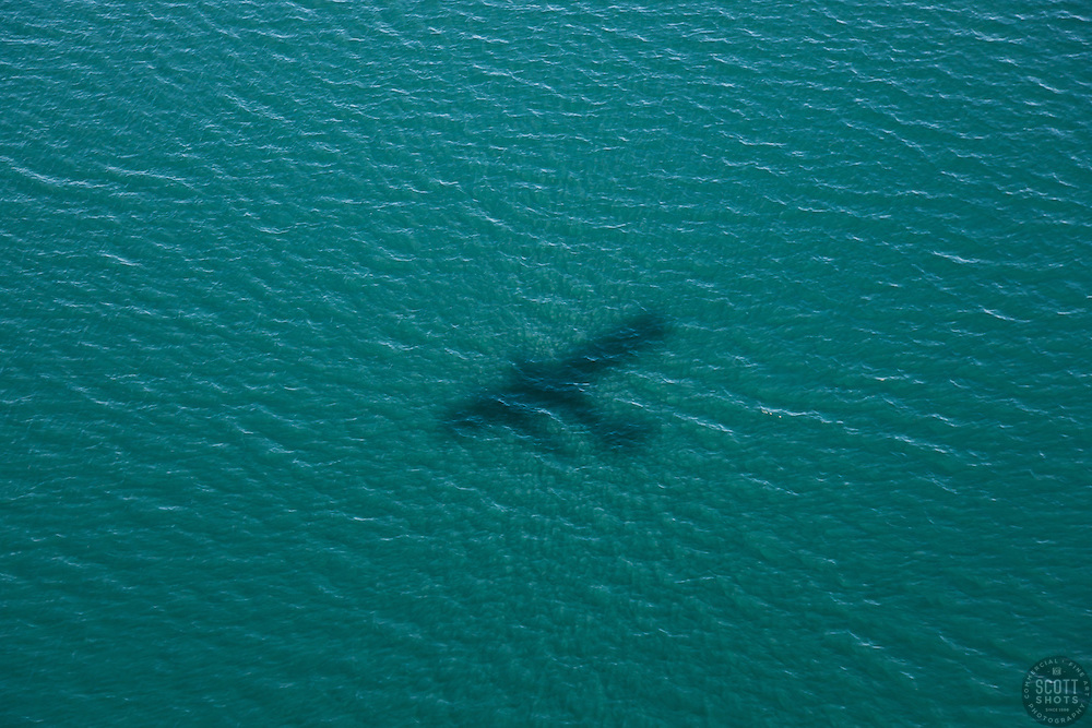 """""""Seaplane Shadow on Fallen Leaf Lake"""" - Photograph of an amphibious seaplane shadow, shot from inside of the seaplane."""