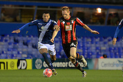 Birmingham City midfielder David Davis and Bournemouth midfielder Shaun MacDonald battle for the ball during the The FA Cup third round match between Birmingham City and Bournemouth at St Andrews, Birmingham, England on 9 January 2016. Photo by Alan Franklin.