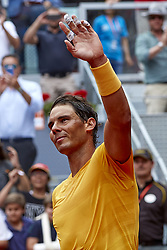 May 9, 2018 - Madrid, Madrid, Spain - Rafael Nadal of Spain celebrates the victory during his match against Gael Monfils of France during day five of the Mutua Madrid Open tennis tournament at the Caja Magica on May 9, 2018 in Madrid, Spain  (Credit Image: © David Aliaga/NurPhoto via ZUMA Press)