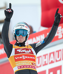 04.01.2015, Bergisel Schanze, Innsbruck, AUT, FIS Ski Sprung Weltcup, 63. Vierschanzentournee, Innsbruck, Finale, 2. Wertungssprung, im Bild Michael Hayboeck (AUT) // Michael Hayboeck of Austria celebrates after his second competition jump for the 63rd Four Hills Tournament of FIS Ski Jumping World Cup at the Bergisel Schanze in Innsbruck, Austria on 2015/01/04. EXPA Pictures © 2015, PhotoCredit: EXPA/ JFK