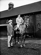 Army Equitation School Feature - New Civilian Trainer, Seamus Hayes (left) and Billy Ringrose (on horse).03/01/1957..Col Billy Ringrose has served not only as Chef d'Equipe to the Irish team but has also been main Arena Director for the Dublin Horse Show and is a retired RDS President.
