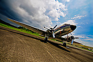 Douglas DC-3 parked at the former Howard Air Force Base in Panama.  This airport is now called the Panama Pacifico International Airport.
