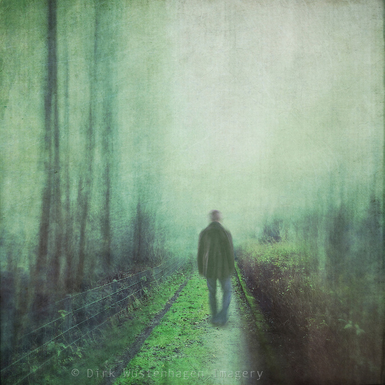 Man walking on a parkway  - manipulated and textured photograph