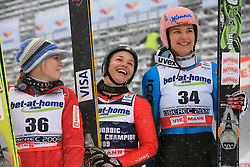 Anette Sagen of Norway placed third, Lindsey Van of USA placed first and Ulrike Graessler of Germany placed second at Ski Jumping ladies Normal Hill Individual of FIS Nordic World Ski Championships Liberec 2008, on February 20, 2009, in Jested, Liberec, Czech Republic. (Photo by Vid Ponikvar / Sportida)