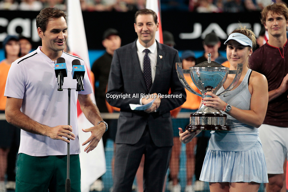 6th January 2018, Perth Arena, Perth, Australia; MasterCard Hopman Cup Tennis Final; Roger Federer makes his acceptance speech after winning the Hopman Cup with Partner Belinda Bencic