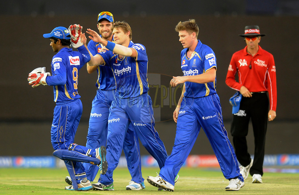 Shane Watson captain of the Rajatshan Royals celebrates the wicket of Robin Uthappa of the Kolkata Knight Riders during match 25 of the Pepsi Indian Premier League Season 2014 between the Rajasthan Royals and the Kolkata Knight Riders held at the Sardar Patel Stadium, Ahmedabad, India on the 5th May  2014<br /> <br /> Photo by Pal Pillai / IPL / SPORTZPICS      <br /> <br /> <br /> <br /> Image use subject to terms and conditions which can be found here:  http://sportzpics.photoshelter.com/gallery/Pepsi-IPL-Image-terms-and-conditions/G00004VW1IVJ.gB0/C0000TScjhBM6ikg