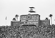 COLLEGE FOOTBALL:  The scoreboard at the 1972 Rose Bowl shows the score with 12 seconds left to play following a Stanford field goal by kicker Rod Garcia.  Stanford defeated Michigan by a final score of 13-12 in the game played on January 1, 1972 at the Rose Bowl in Pasadena, California. BW R0148-26