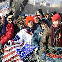 Susan Munroe of Boston, MA holds an American flag as she attends the inauguration at the U.S. Capital for the swearing in of Barack Obama as the 44th President of the United States of America during his Inauguration Ceremony on Capitol Hill in Washington on January 20, 2009.   (Mark Goldman/ Goldmine Photos)