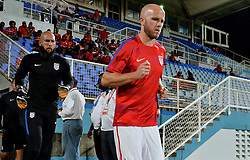 October 10, 2017 - Couva, Caroni County, Trinidad & Tobago - Couva, Trinidad & Tobago - Tuesday Oct. 10, 2017: Tim Howard, Michael Bradley during a 2018 FIFA World Cup Qualifier between the men's national teams of the United States (USA) and Trinidad & Tobago (TRI) at Ato Boldon Stadium. (Credit Image: © John Todd/ISIPhotos via ZUMA Wire)