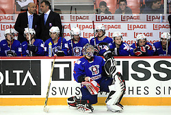 Goalkeeper of Slovenia Andrej Hocevar and Slovenian team waiting for penalty shots at ice-hockey game Slovenia vs Slovakia at second game in  Relegation  Round (group G) of IIHF WC 2008 in Halifax, on May 10, 2008 in Metro Center, Halifax, Nova Scotia, Canada. Slovakia won after penalty shots 4:3.  (Photo by Vid Ponikvar / Sportal Images)