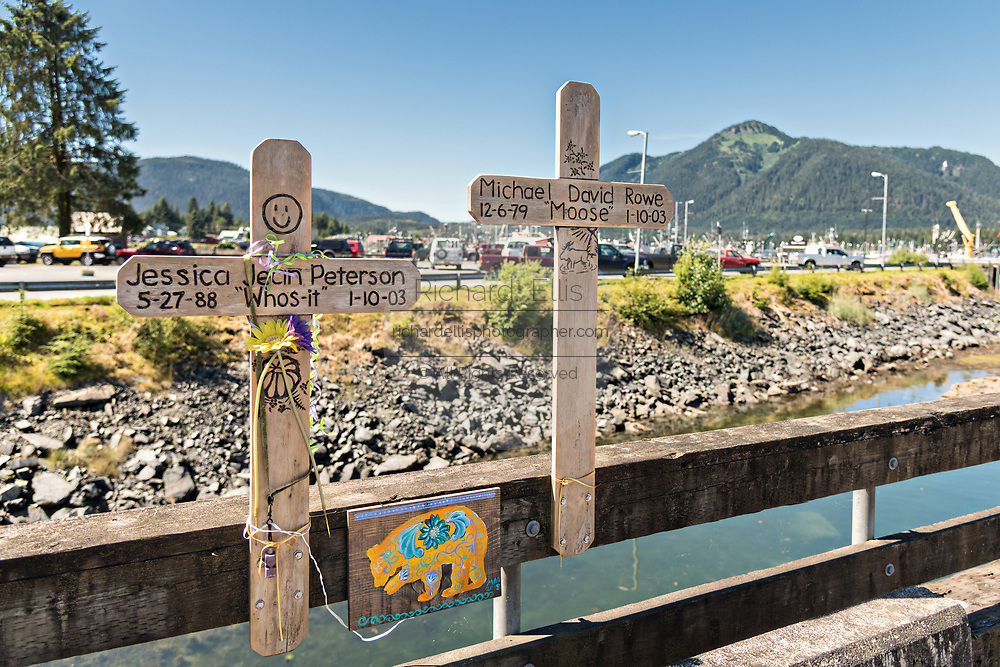 Two crosses form a memorial for two young people who died on the Sing Lee Alley bridge across Hammer Slough in Petersburg, Mitkof Island, Alaska. Petersburg settled by Norwegian immigrant Peter Buschmann is known as Little Norway due to the high percentage of people of Scandinavian origin.