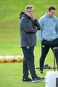 Heart of Midlothian manager Craig Levein oversees training at the Oriam Sports Performance Centre, Edinburgh on 13 September 2018, ahead of the away match against Motherwell.