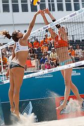 20180718 NED: CEV DELA Beach Volleyball European Championship day 4<br />Aline Chamereau (1) of France, Madelein Meppelink (2) of The Netherlands <br />©2018-FotoHoogendoorn.nl