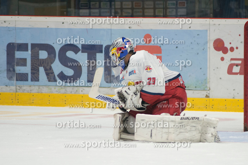 16.09.2016, Ice Rink, Znojmo, CZE, EBEL, HC Orli Znojmo vs EC Red Bull Salzburg, 1. Runde, im Bild Bernhard Starkbaum (EC Red Bull Salzburg ) // during the Erste Bank Icehockey League 1st Round match between HC Orli Znojmo and EC Red Bull Salzburg at the Ice Rink in Znojmo, Czech Republic on 2016/09/16. EXPA Pictures © 2016, PhotoCredit: EXPA/ Rostislav Pfeffer