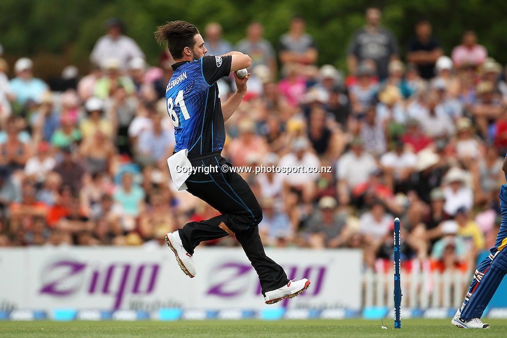 Mitchell McClenaghan of the Black Caps bowling during the first ODI between the Black Caps v Sri Lanka at Hagley Oval, Christchurch. 11 January 2015 Photo: Joseph Johnson / www.photosport.co.nz