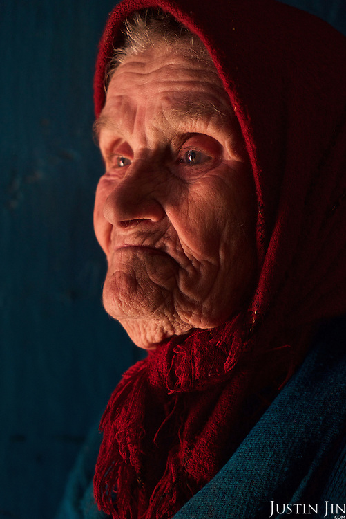Maria Petrivna Shovkuta, 88, a resettler at the radioactive exclusion zone at Chernobyl. <br /> <br /> 30 years on, the plant is still heavily contaminated, unfit for human life, but some villages defy government orders and returned to live inside the exclusion zone. <br /> <br /> The Chernobyl nuclear disaster happened on 26 April 1986.