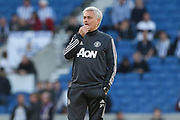 Manchester United Manager Jose Mourinho warm up during the Premier League match between Brighton and Hove Albion and Manchester United at the American Express Community Stadium, Brighton and Hove, England on 4 May 2018. Picture by Phil Duncan.