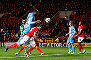 Jean-Yves Mvoto of Barnsley scores the opening goal during the Sky Bet Championship match at The Valley, London<br /> Picture by David Horn/Focus Images Ltd +44 7545 970036<br /> 15/04/2014