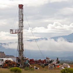 091010       Brian Leddy.A drilling rig stands tall in the shadow of Mount Taylor on Wednesday morning near San Mateo in McKinley County. Uranium Resources Incorporated spent the day drilling down to 950 feet to extract uranium core samples for a proposed mine at the site.