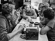21 SEPTEMBER 2019 - DES MOINES, IOWA: TOM STEYER talks to a table of customers in a Des Moines coffee shop before a campaign appearance Saturday. Steyer, a California businessman, is running to be the Democratic nominee for President in the 2020 election. He is also pushing the Democrats in Congress to impeach President Trump. Iowa traditionally hosts the first event of the presidential selection cycle. The Iowa Caucuses are on February 3, 2020.             PHOTO BY JACK KURTZ