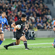 All Blacks Julian Savea tries to cut up field but is smothered by Manu Samoa defenders.  The New Zealand All Blacks defeated Manu Samoa 15's 83-0 at Eden Park, Auckland, New Zealand.  Photo by Barry Markowitz, 6/16/17