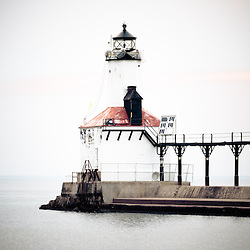 Picture of Michigan City lighthouse. The Michigan City East Pierhead Lighthouse is located in Michigan City, Indiana along the Lake Michigan shoreline.